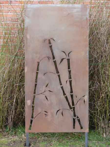 sichtschutz trennwand bambus gartendeko metall edelrost stecker ebay. Black Bedroom Furniture Sets. Home Design Ideas